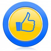 blue yellow icon thumb up sign