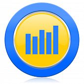 graph blue yellow icon bar graph sign