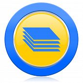 layers blue yellow icon gages sign