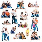 Collage  photos of a happy smiling families with their dogs isolated on white