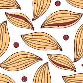 Seamless textile pattern with leaves and berries