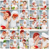 collage mother and baby daughter playing with fruits and vegetables and cook them in the kitchen