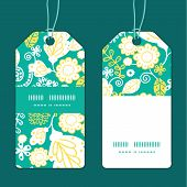 Vector emerald flowerals vertical stripe frame pattern tags set