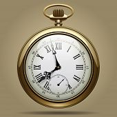 Realistic image of old vintage clock face. Retro pocket watch. Vector Illustration