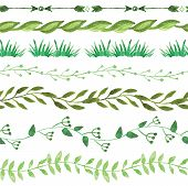 Watercolor seamless borders  set.Vintage floral green branches
