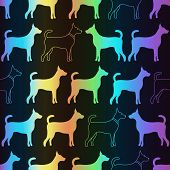 Bright spectrum seamless pattern of dog silhouettes