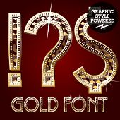 Vector set of gold rich alphabet with diamonds.Symbols 1