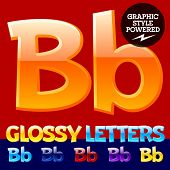 Vector set of glossy modern alphabet in different colors. Letter B. Also includes graphic styles
