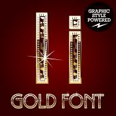 Vector set of gold rich alphabet with diamonds. Letter I