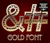 Vector set of gold rich alphabet with diamonds. Symbols 3