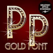 Vector set of gold rich alphabet with diamonds. Letter P