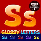 Vector set of glossy modern alphabet in different colors. Letter S. Also includes graphic styles