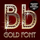 Vector set of gold rich alphabet with diamonds. Letter B