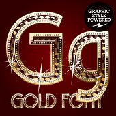 Vector set of gold rich alphabet with diamonds. Letter G