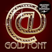 Vector set of gold rich alphabet with diamonds. Symbols 2