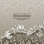Vintage background with floral border element