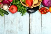 picture of fruits vegetables  - Summer frame with fresh organic vegetables and fruits on wooden background - JPG