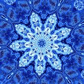 Abstract unique blue fractal mandala. Hypnotic psychedelic shapes. Background with stains.