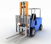 Loader without cargo. 3d image on a white background