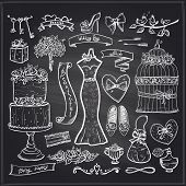 Chalkboard wedding bridal elements set - cake, dress, accessories, hearts and ribbons.