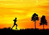 Man running across the field
