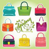 Coloured fashion women handbags.Spring is coming