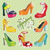 stock photo of platform shoes  - Set of Colorful fashion women open shoes with High heel  - JPG