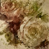 art grunge floral vintage watercolor background with white, tea and pink roses toned retro sepia filter effect