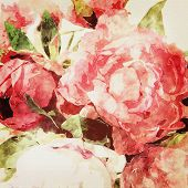 art grunge floral warm sepia vintage watercolor background with white, purple, tea and pink roses and peonies
