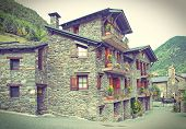 Typical Traditional Dark Brick Andorra Rural Houses - Postcard Look