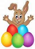 Young bunny with Easter eggs theme 1 - eps10 vector illustration.