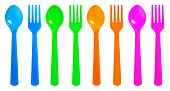 Colourful Spoon And Fork