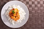 plate of rice and chicken