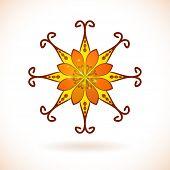Flower ornament, Isolated design element, Vector illustration