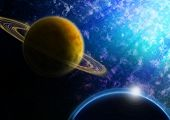 Outer Space Scenery Blue and Yellow Planets