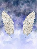 Watercolor background with wings.