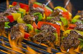pic of kababs  - Beef kabobs on the a flaming hot grill with vegetables - JPG
