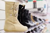 The image of women's boots in row