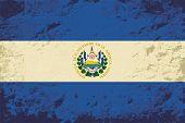 El Salvador flag. Grunge background. Vector illustration