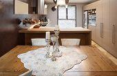 Architecture, beautiful apartment furnished, domestic kitchen