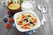 Millet Porridge With Dried Apricots And Prunes