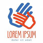 hands vector logo design template. family or charity icon.