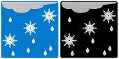 Snow and rain icon. Day and night weather