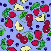 Fruits and berries vector pattern