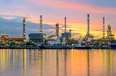 stock photo of greenpeace  - Oil refinery plant at twilight Bangkok Thailand - JPG