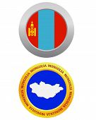 stock photo of bator  - button as a symbol MONGOLIA flag and map on a white background - JPG