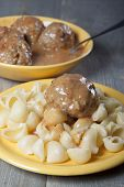 Meatballs With Pasta With Tomato Sauce .