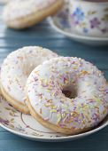 Donuts With Icing And Colored Sprinkles Confectionery.