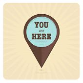 Vector illustration of vintage pointer sign in brown and blue colors