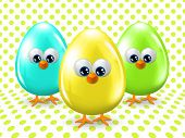 Easter Eggs Over Dotted Background